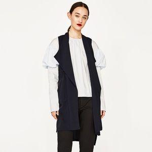 Zara Dark Blue Draped Drawstring Hi-Lo Waistcoat